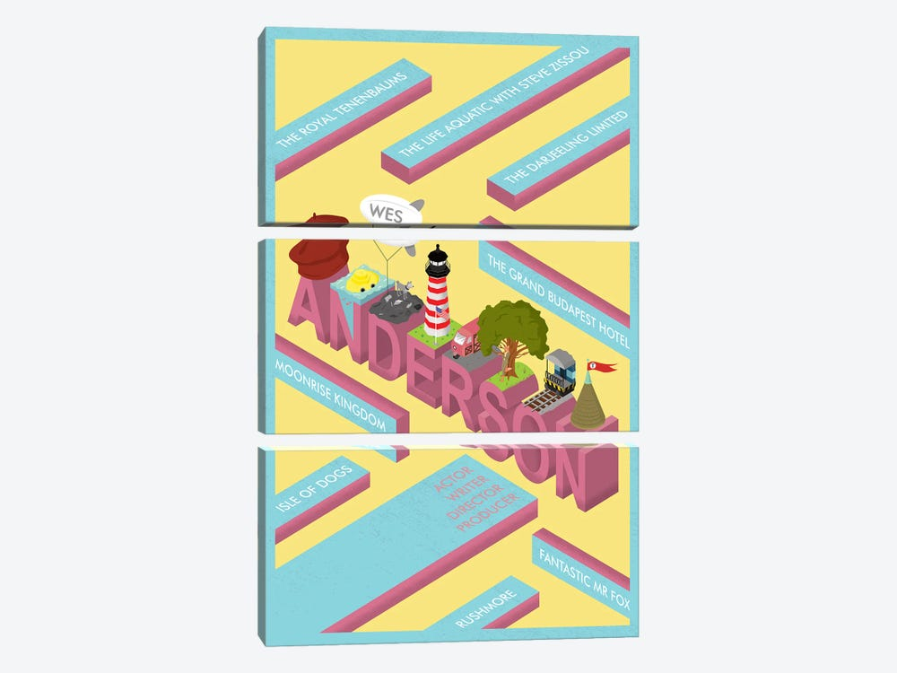 Wes Anderson tribute by Chris Richmond 3-piece Canvas Wall Art