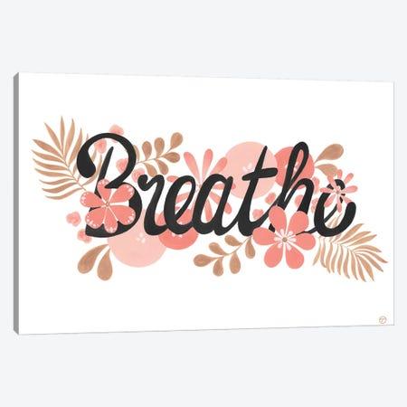Breathe Black On White Paper Canvas Print #CTA14} by CreatingTaryn Canvas Art