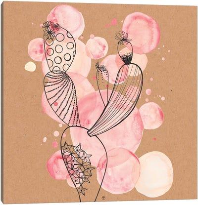 Cactus And Bubbles Large Paper Kraft Canvas Art Print