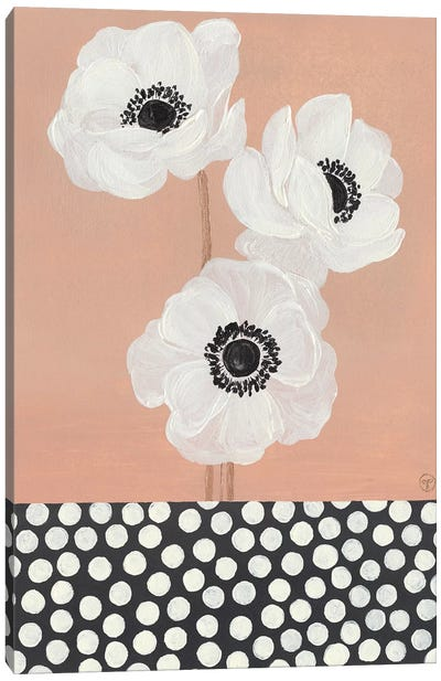 Caramel French Anemones With Polka Dots Canvas Art Print