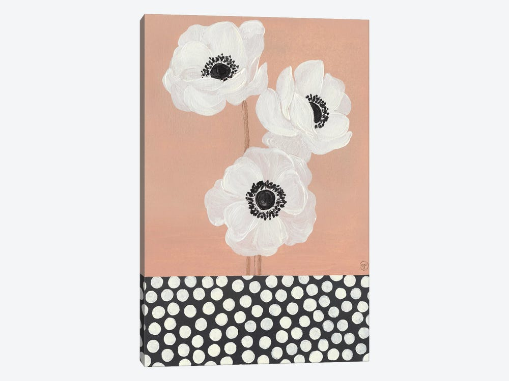 Caramel French Anemones With Polka Dots by CreatingTaryn 1-piece Canvas Artwork