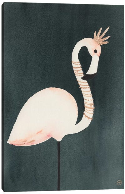 Flamingo And Crown Canvas Art Print