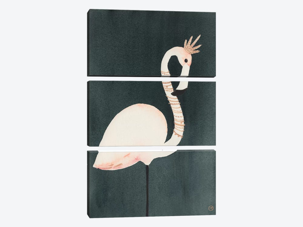 Flamingo And Crown by CreatingTaryn 3-piece Canvas Wall Art