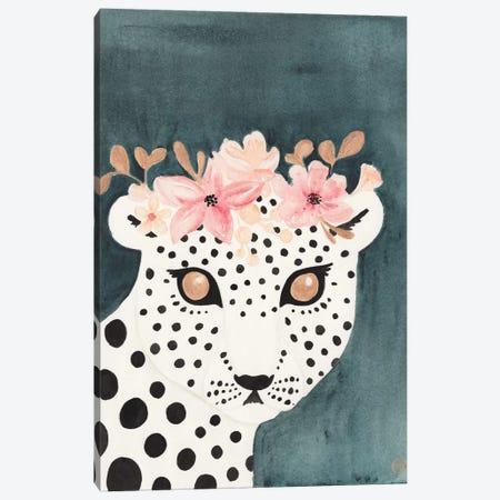 Flower Crown Leopard Canvas Print #CTA26} by CreatingTaryn Canvas Art Print