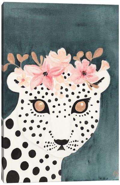 Flower Crown Leopard Canvas Art Print