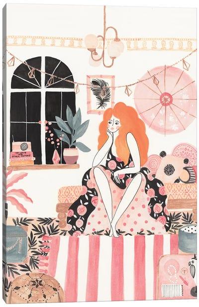 Girl In Bedroom Canvas Art Print