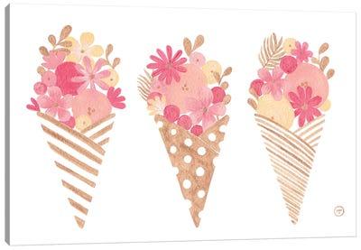 Ice Cream Cones Gold Paper Canvas Art Print
