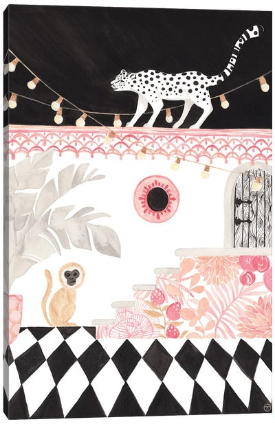 Leopard And Monkey Paper Canvas Art Print