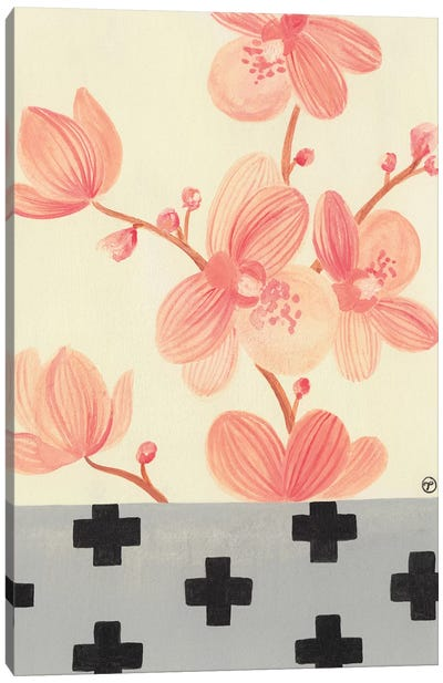 Orchids With Crosses On Grey Canvas Art Print