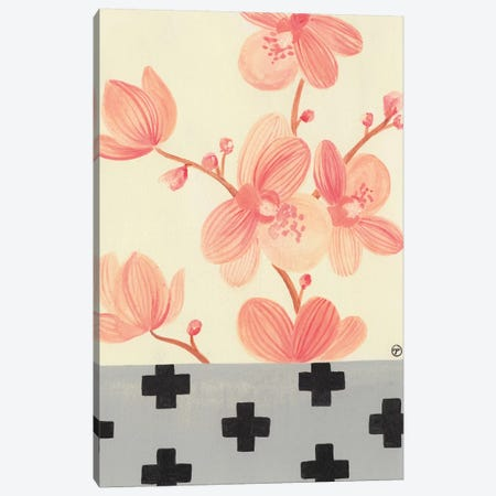 Orchids With Crosses On Grey Canvas Print #CTA49} by CreatingTaryn Canvas Art