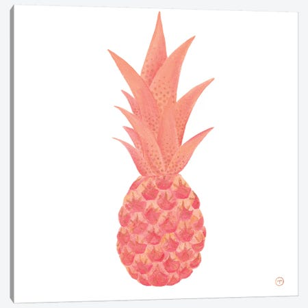 Pink Pineapple With Gold Paper Canvas Print #CTA56} by CreatingTaryn Canvas Wall Art