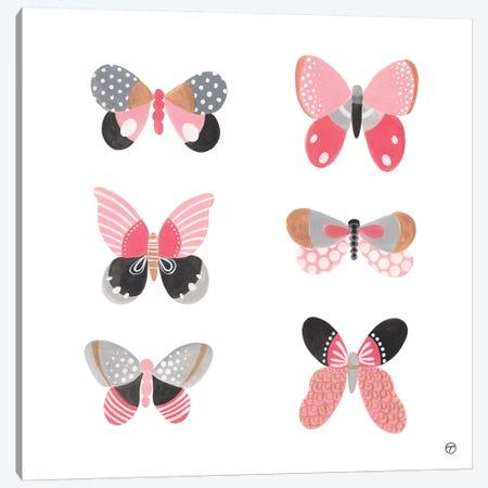 6 Butterflies Paper Square Canvas Print #CTA5} by CreatingTaryn Art Print