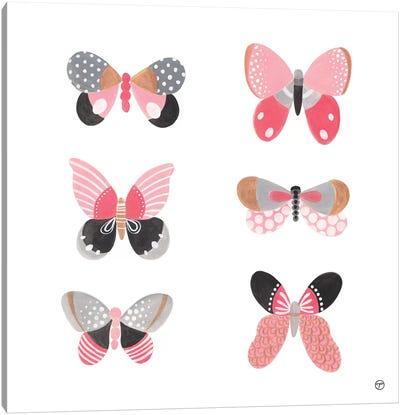 6 Butterflies Paper Square Canvas Art Print