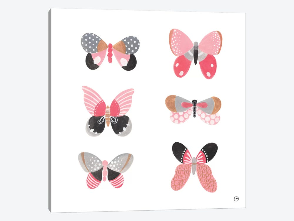 6 Butterflies Paper Square by CreatingTaryn 1-piece Canvas Art Print