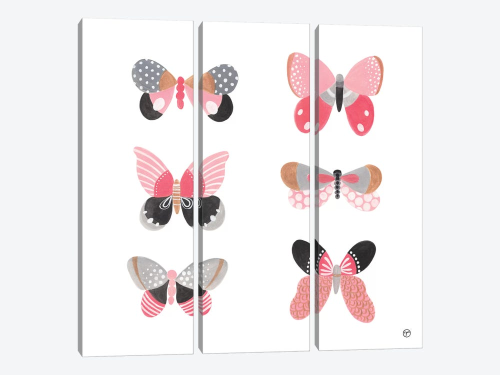 6 Butterflies Paper Square by CreatingTaryn 3-piece Canvas Art Print