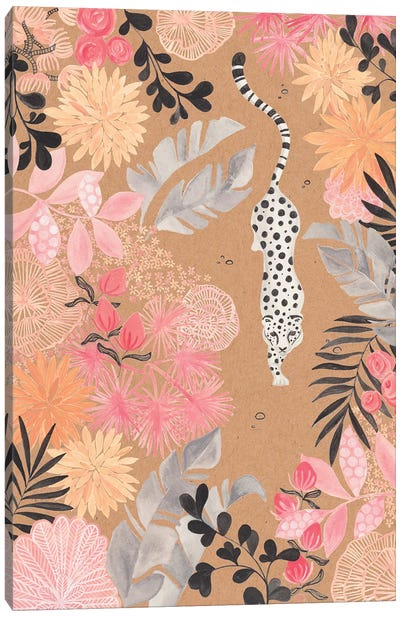 Stalking Leopard Paper Kraft Canvas Art Print