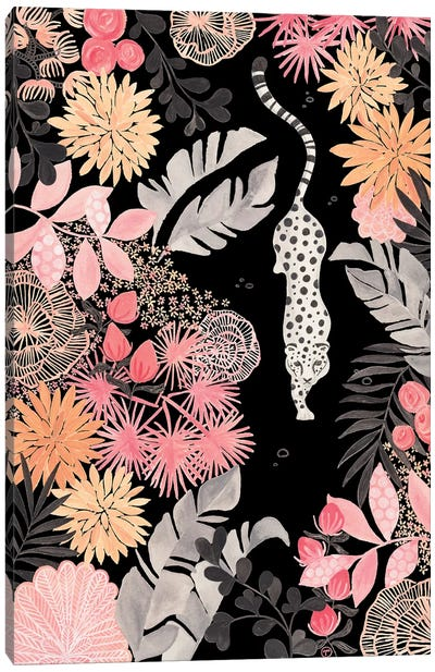 Stalking Leopard Paper On Black Canvas Art Print
