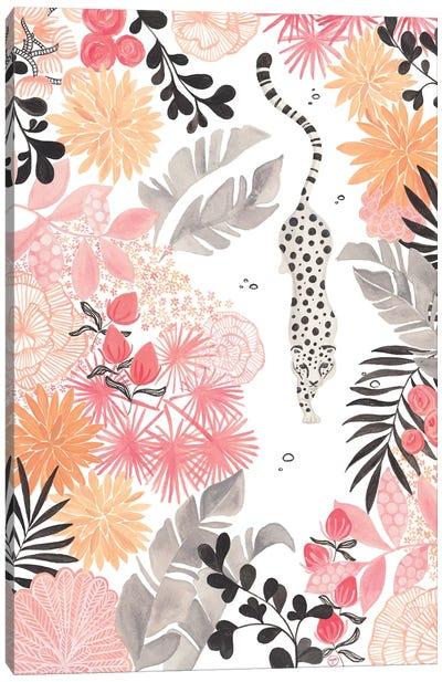 Stalking Leopard Paper White Full Canvas Art Print