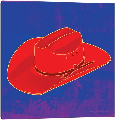 Pop Art Cowboy Hat Blue Canvas Art Print