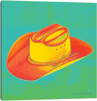 Pop Art Cowboy Hat Green Canvas Art Print
