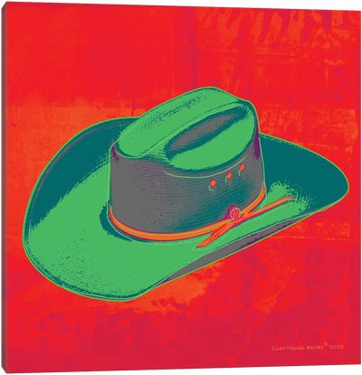 Pop Art Cowboy Hat Red Canvas Art Print