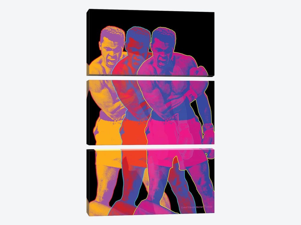 Pop Muhammad Black by Christopher Brown 3-piece Canvas Wall Art