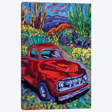 Red Truck Luck Canvas Print #CTC13} by Cathy Carey Canvas Art Print
