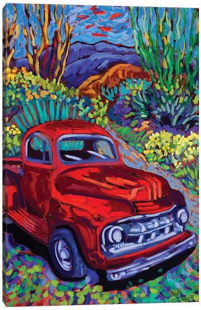 Red Truck Luck Canvas Art Print