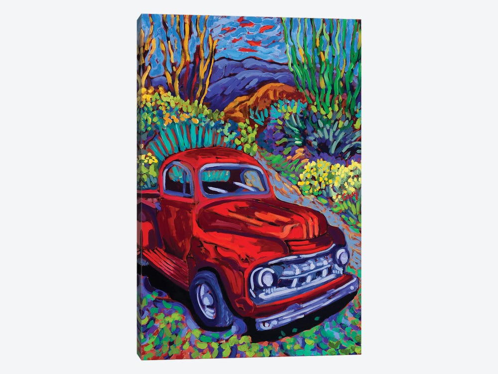 Red Truck Luck by Cathy Carey 1-piece Canvas Print