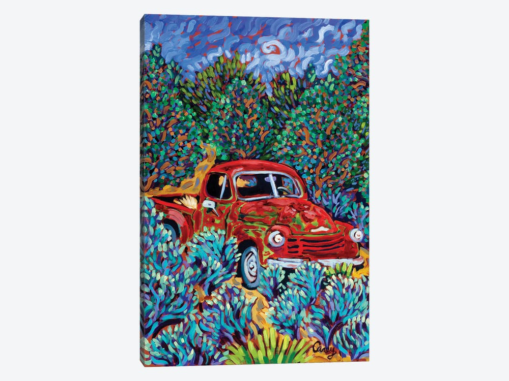 Little Red Truck by Cathy Carey 1-piece Canvas Art