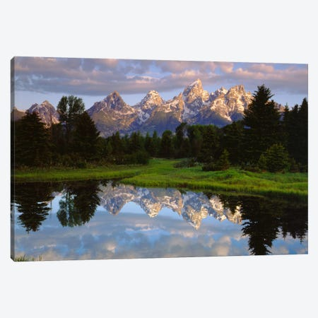 Teton Range And Its Reflection In Snake River, Grand Teton National Park, Wyoming, USA Canvas Print #CTF16} by Christopher Talbot Frank Canvas Art Print