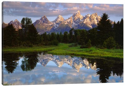 Teton Range And Its Reflection In Snake River, Grand Teton National Park, Wyoming, USA Canvas Art Print