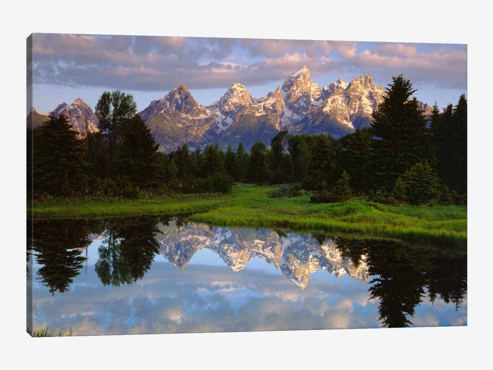 Teton Range And Its Reflection In Snake River, Grand Teton National Park, Wyoming, USA by Christopher Talbot Frank 1-piece Canvas Art