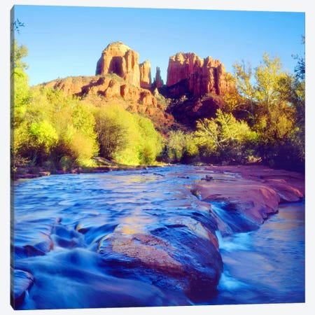 Cathedral Rock With Oak Creek In The Foreground, Coconino National Forest, Yavapai County, Arizona, USA Canvas Print #CTF5} by Christopher Talbot Frank Canvas Artwork