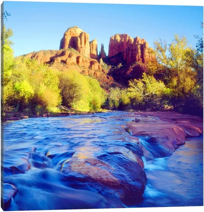 Cathedral Rock With Oak Creek In The Foreground, Coconino National Forest, Yavapai County, Arizona, USA Canvas Art Print