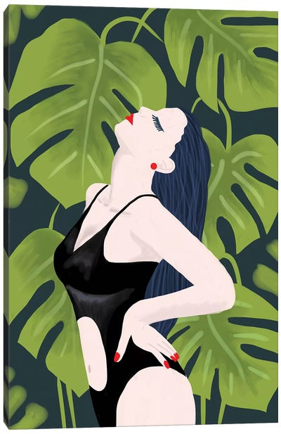 Monstera Girl Canvas Art Print