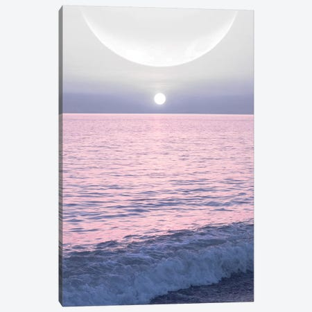 Moon And Sun On The Sea Canvas Print #CTI114} by Emanuela Carratoni Canvas Art
