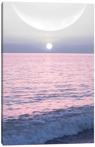 Moon And Sun On The Sea by Emanuela Carratoni Canvas Art Print