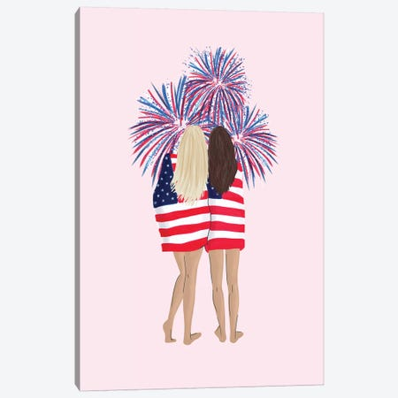 Patriotic Girls Canvas Print #CTI117} by Emanuela Carratoni Canvas Wall Art