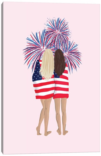 Patriotic Girls Canvas Art Print