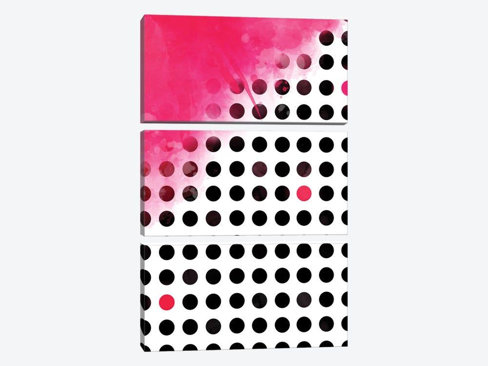Pink On Polka Dots by Emanuela Carratoni 3-piece Canvas Artwork