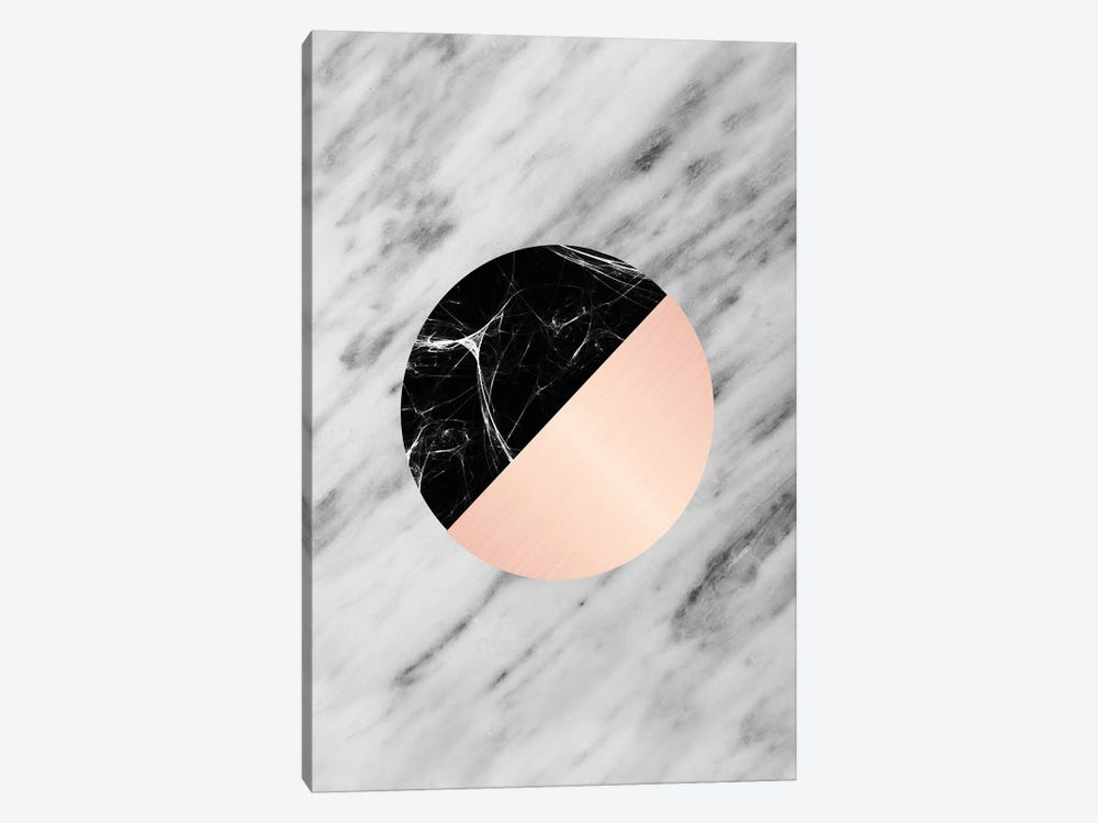 Carrara Italian Marble Black And Pink by Emanuela Carratoni 1-piece Canvas Art Print