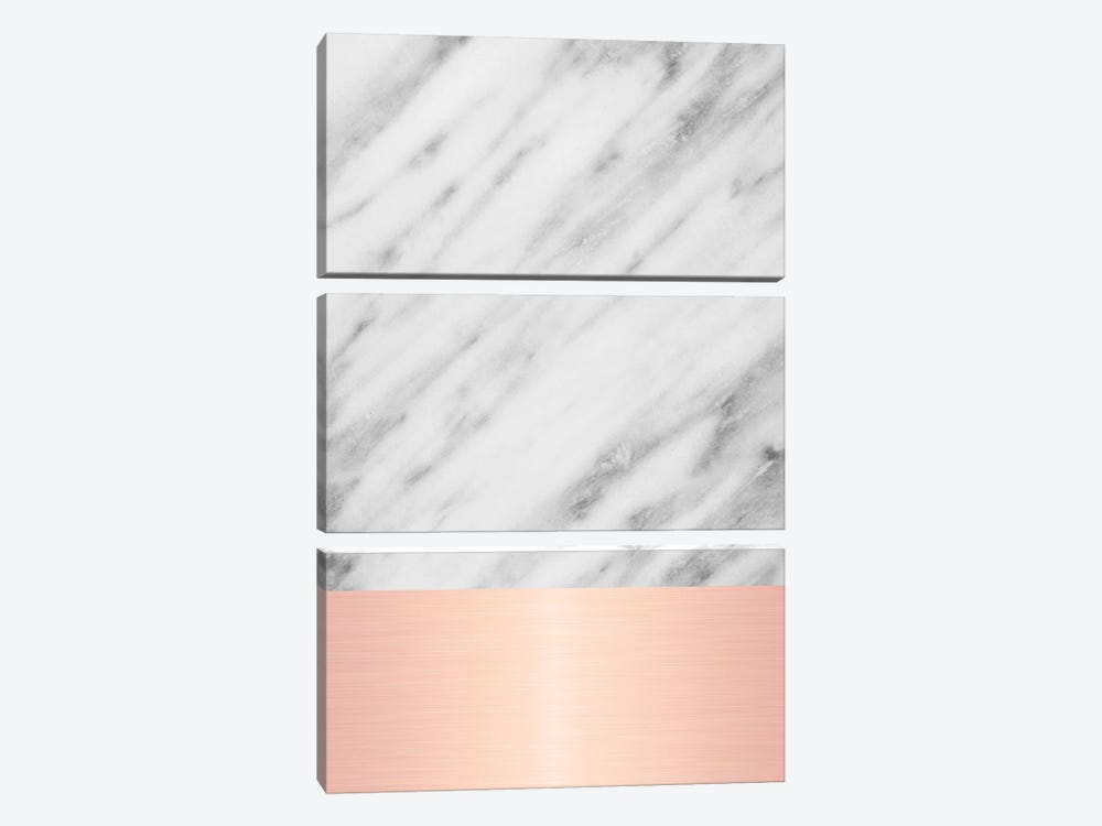 Carrara Marble With Pink by Emanuela Carratoni 3-piece Canvas Print