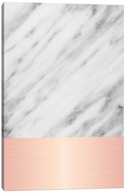 Carrara Marble With Pink Canvas Art Print
