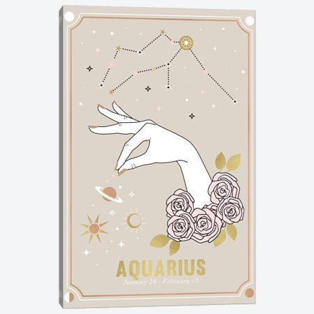 Aquarius Zodiac Sign Canvas Print #CTI219} by Emanuela Carratoni Canvas Wall Art