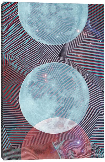 Techno Moon Canvas Art Print