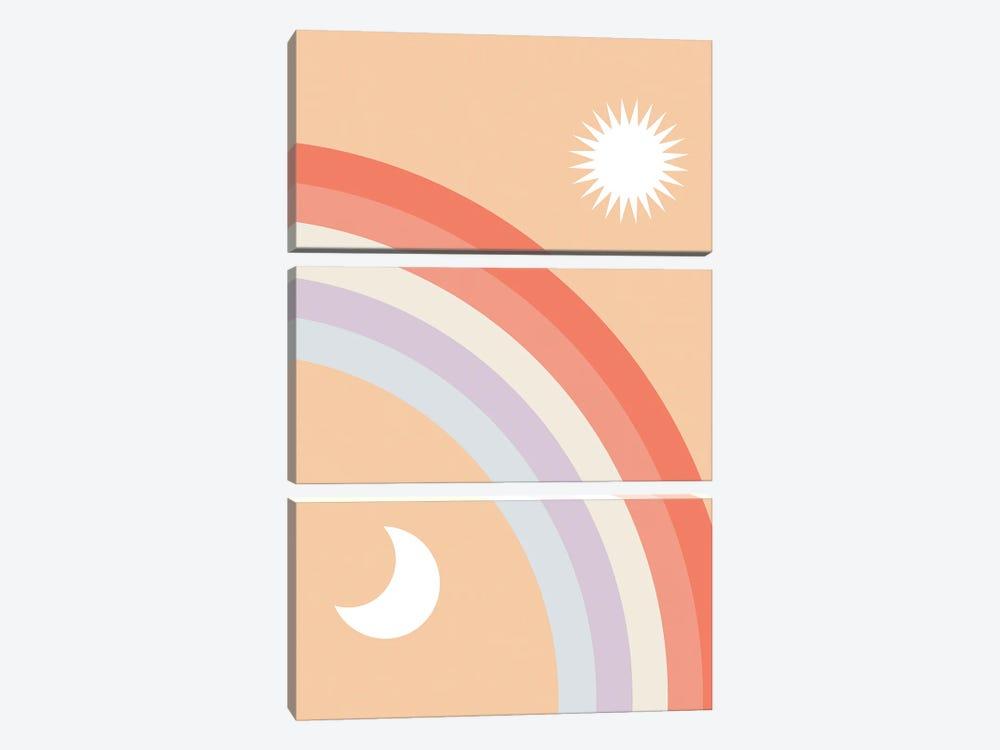 Rainbow Moon and Sun by Emanuela Carratoni 3-piece Canvas Print