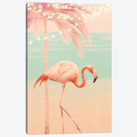 Pink Flamingo On The Beach Canvas Print #CTI267} by Emanuela Carratoni Canvas Artwork