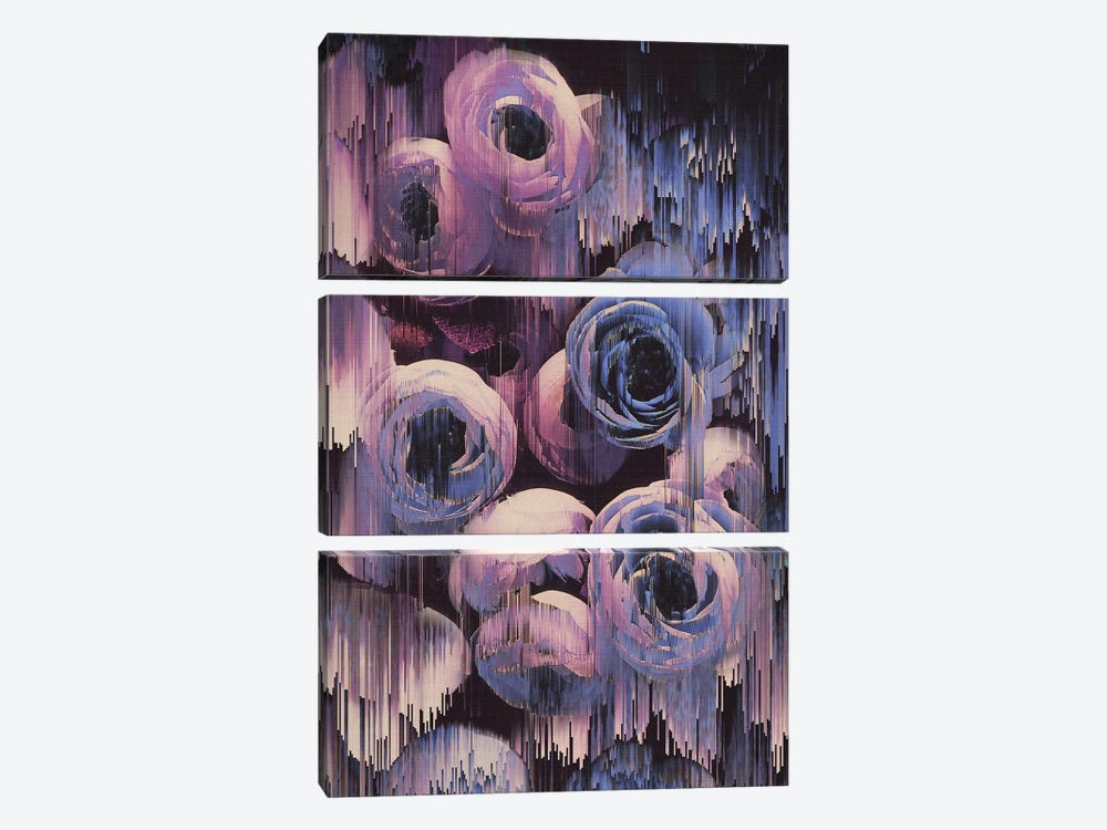 Floral Glitches by Emanuela Carratoni 3-piece Canvas Art