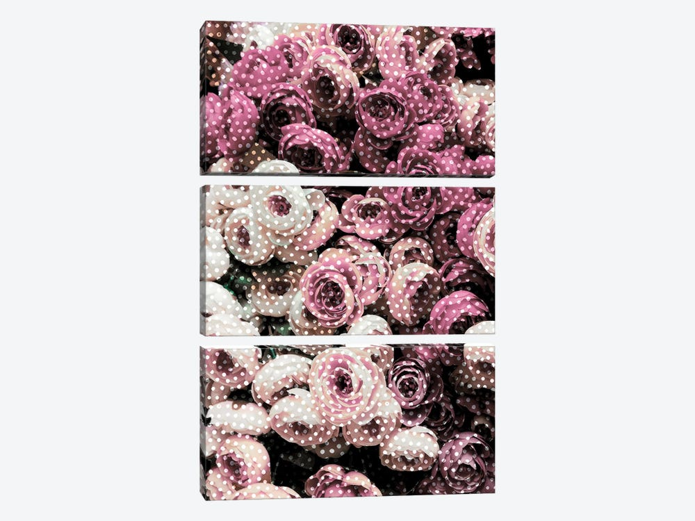 Flowers With Polka Dots by Emanuela Carratoni 3-piece Canvas Print